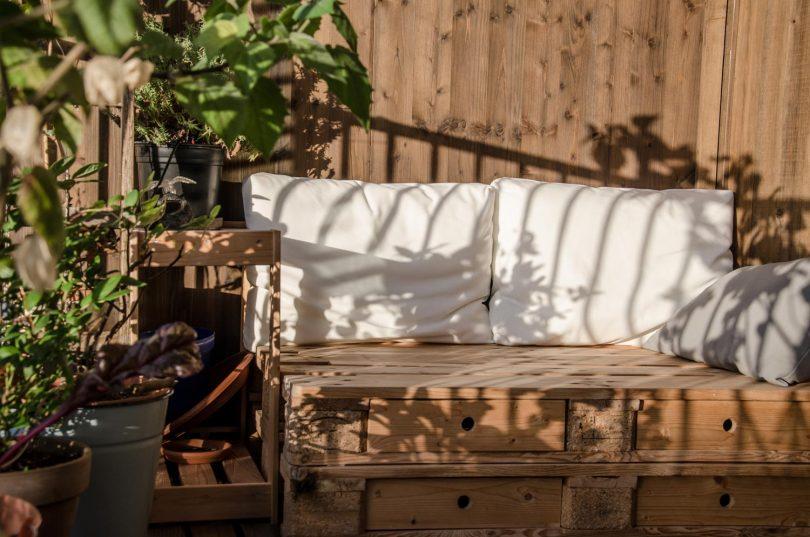 salon de jardin en caisse à pomme